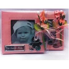 Portafotos bautizo grabado rosa