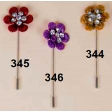 Alfiler metálico flor purpurina colores surtidos + capuchón