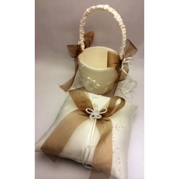Cojín anillos + cesta arras FLOR ( set decorado )